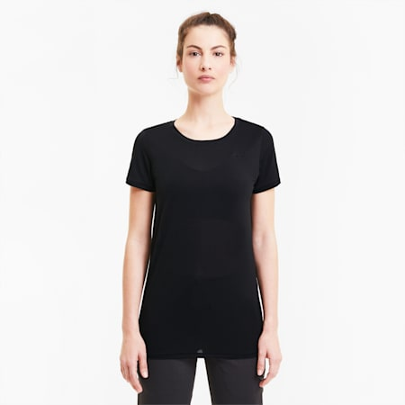 Studio Lace Keyhole Women's Training Tee, Puma Black, small-SEA