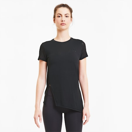 Studio Lace Short Sleeve Women's Training Tee, Puma Black, small-SEA