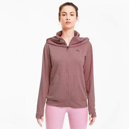 Studio Yogini Lange, gestrickte Damen Trainingsjacke, Foxglove Heather, small