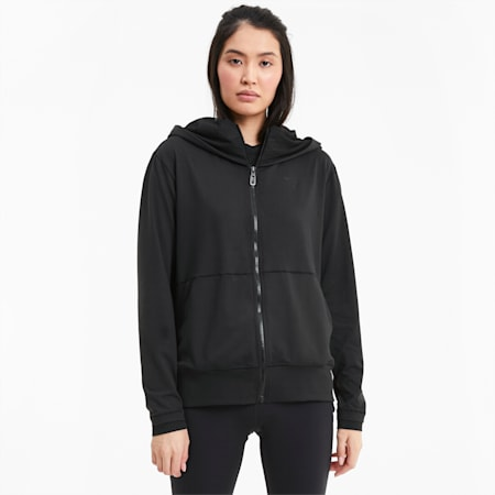 Studio Yogini Lange, gestrickte Damen Trainingsjacke, Puma Black, small