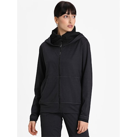 Studio Yogini Knitted dryCELL Women's Training Jacket, Dark Gray Heather, small-IND