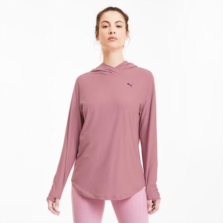 Sweatshirt à capuche tricoté Studio Training pour femme, Foxglove Heather, small