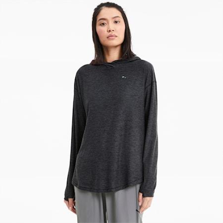 Sweatshirt à capuche tricoté Studio Training pour femme, Dark Gray Heather, small