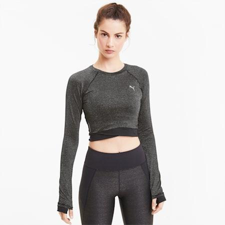 Studio Metallic Long Sleeve Women's Training Top, Puma Black, small