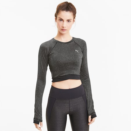 Studio Metallic Women's Long Sleeve Top, Puma Black, small