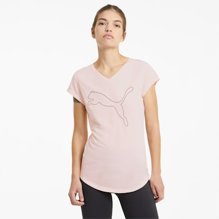 Favourite Heather Cat Women's Training Tee, Cloud Pink Heather, small