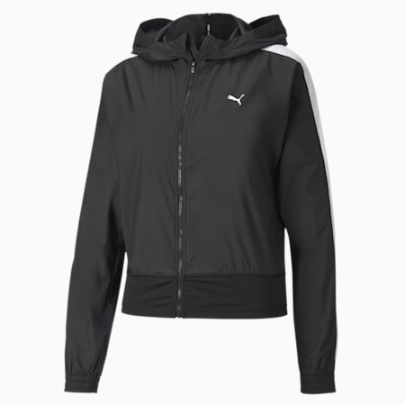 Favourite Woven Hooded Women's Training Jacket, Puma Black, small-SEA