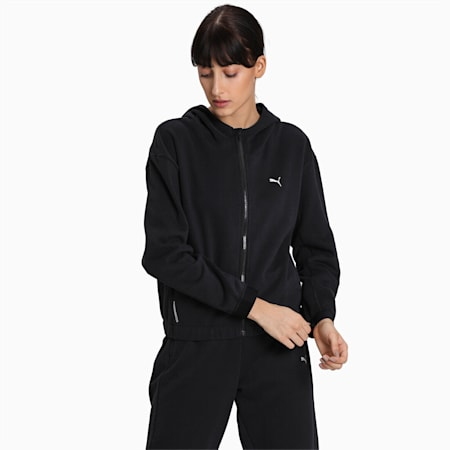 Train Favorite Women's Full Zip Fleece Hoodie, Puma Black, small