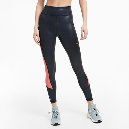 Pearl Print High Waist 7/8 Women's Training Leggings, Puma Black-Nrgy Peach, small-IND