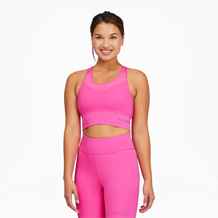 PUMA x FIRST MILE Women's Mid Impact Long Line Bra, Luminous Pink, small