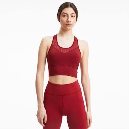 Soutien-gorge de sport PUMA x FIRST MILE Mid Impact Long Line femme, Red Dahlia, small