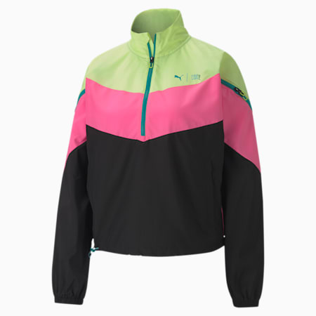 PUMA x FIRST MILE Xtreme windCELL Women's Training Jacket, FizzyYellowLuminousPinkBlack, small-IND