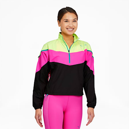 PUMA x FIRST MILE Xtreme Women's Training Jacket, FizzyYellowLuminousPinkBlack, small