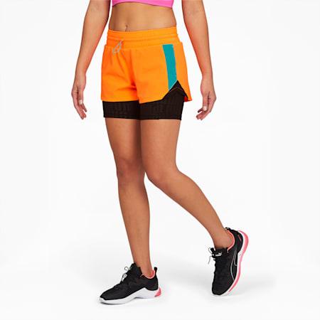 PUMA x FIRST MILE Xtreme Women's 2-in-1 Training Shorts, Ultra Orange-Puma Black, small