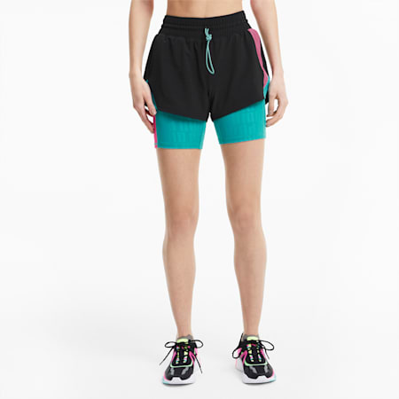 PUMA x FIRST MILE Xtreme Women's 2-in-1 Training Shorts, Puma Black-Viridian Green, small