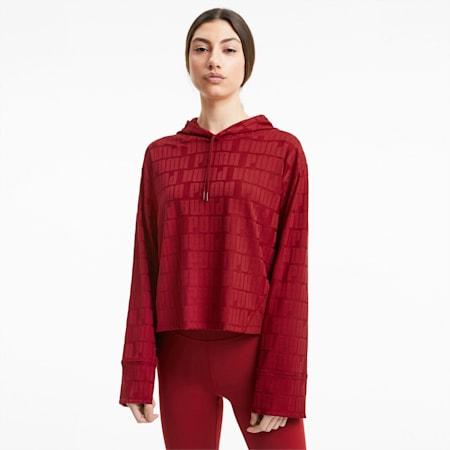 Damska treningowa bluza First Mile Mono z kapturem i długim rękawem, Red Dahlia, small