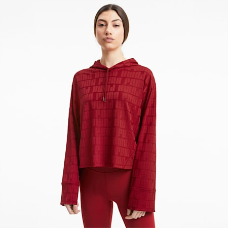 First Mile Mono Long Sleeve trainingshoodie voor dames, Red Dahlia, small