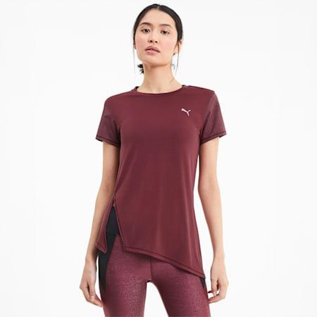 Studio Metallic T-shirt met korte mouwen voor dames, Burgundy, small