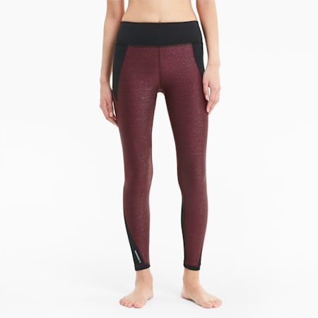 Studio Metallic Women's 7/8 Leggings, Burgundy, small