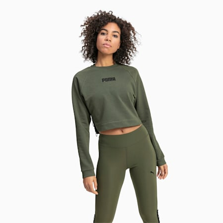 PUMA x PAMELA REIF Lace-Up Cropped Women's Sweater, Four Leaf Clover, small