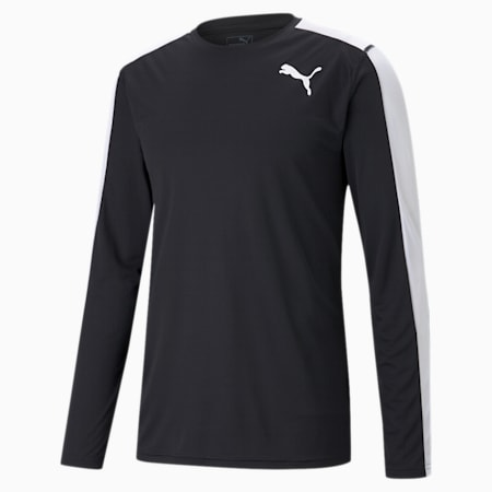 Cross the Line Long Sleeve Men's Performance T-Shirt, Puma Black-Puma White, small-IND