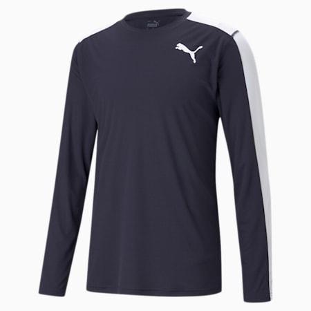 Cross the Line Long Sleeve Men's Performance T-Shirt, Puma New Navy-Puma White, small-IND