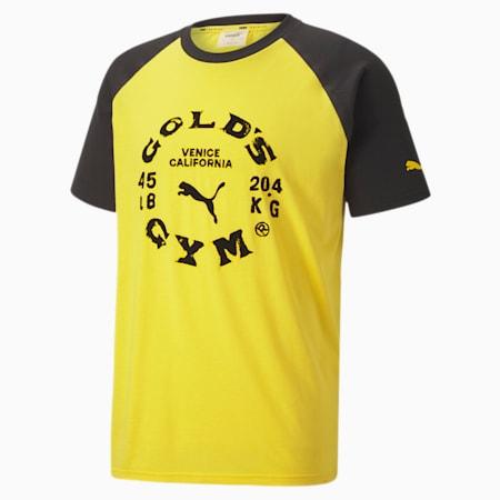 PUMA x GOLD'S GYM Men's Raglan Tee, Dandelion-Puma Black, small