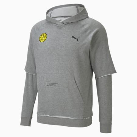 PUMA x GOLD'S GYM dryCELL Training Hoodie, Medium Gray Heather, small