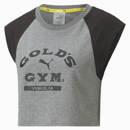 PUMA x GOLDS GYM ウィメンズ クロップド Tシャツ 半袖, Medium Gray Heather-Black, small-JPN