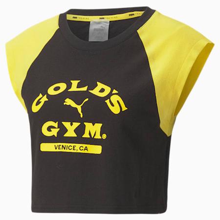 PUMA x GOLDS GYM ウィメンズ クロップド Tシャツ 半袖, Puma Black-Dandelion, small-JPN