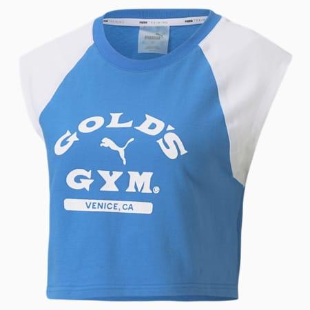 PUMA x GOLDS GYM ウィメンズ クロップド Tシャツ 半袖, Palace Blue-Puma White, small-JPN