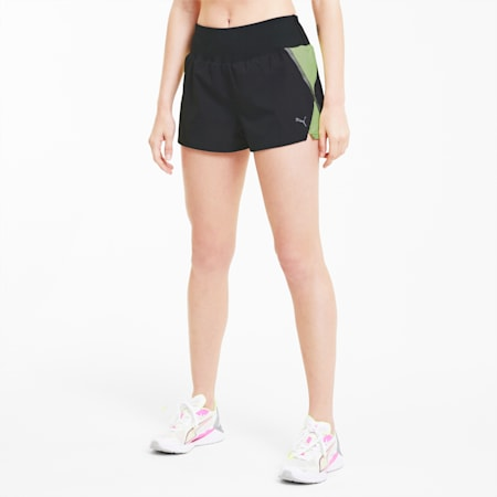 "Lite Woven 3"" Women's Running Shorts, Puma Black-Fizzy Yellow, small-SEA"
