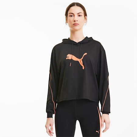 Pearl Long Sleeve Women's Training Hoodie, Puma Black, small