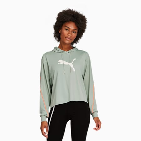 Pearl Long Sleeve Women's Training Hoodie, Aqua Gray, small
