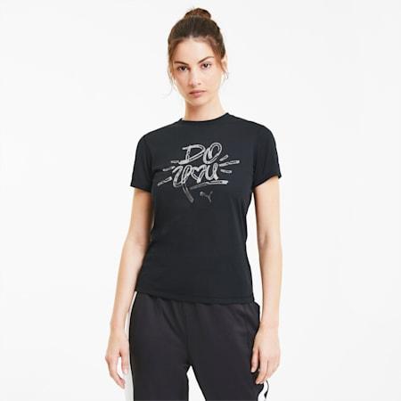 Performance Slogan Short Sleeve Women's T-Shirt, Puma Black-Silver Do You, small-IND