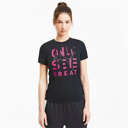Performance Slogan Short Sleeve Women's Tee, Puma Black-Pink OSG Print, small-SEA