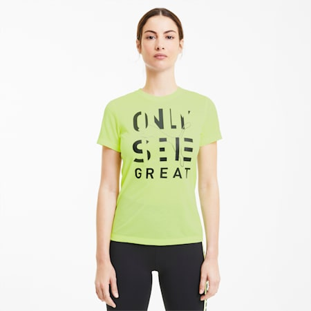 Performance Slogan Short Sleeve Women's T-Shirt, Fizzy Yellow-Black OSG Print, small-IND
