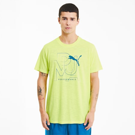 Performance Branded Short Sleeve Men's Training Tee, Fizzy Yellow-Dig&Wht Perform, small-SEA