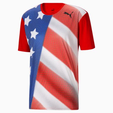 Camiseta para correr Country Emblem Techpara hombre, Puma Red-USA, pequeño