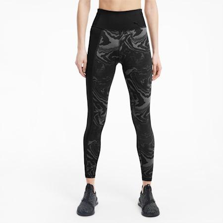 Metallic High Waist Flatlock Stitching Women's Training Leggings, Puma Black-Marble Print, small-IND