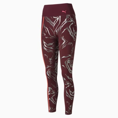 Metallic High Rise Women's 7/8 Leggings, Burgundy, small