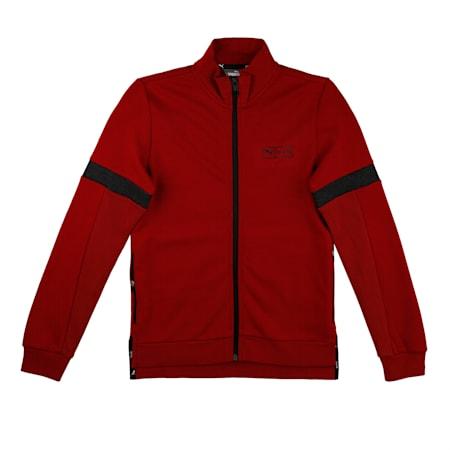 PUMA X one8 Virat Kohli Kid's Track Jacket, Red Dahlia-Dark Gray Heather, small-IND