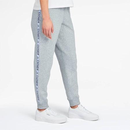 Pantalones deportivos con puño PUMA x CLOUD9 Glitch para mujer, Light Gray Heather, pequeño
