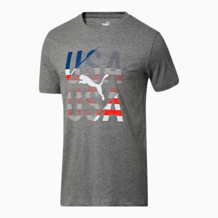 Camiseta para fanáticos de EE.UU. para hombre, Medium Gray Heather-USA, pequeño