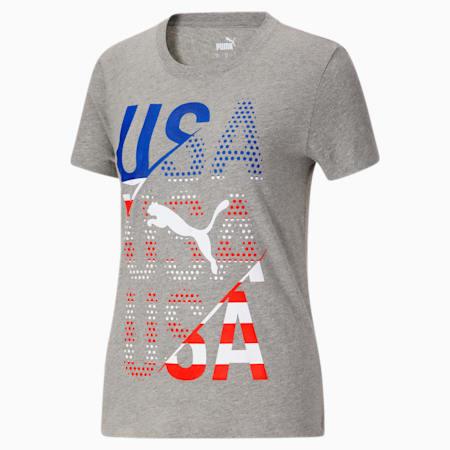 Camiseta para fanáticos de EE.UU para mujer, Medium Gray Heather-USA, pequeño