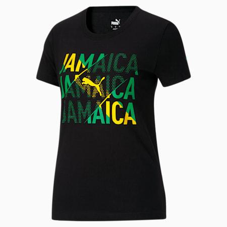 Camiseta para fanáticos de Jamaica para mujer, Puma Black-Jamaica, pequeño