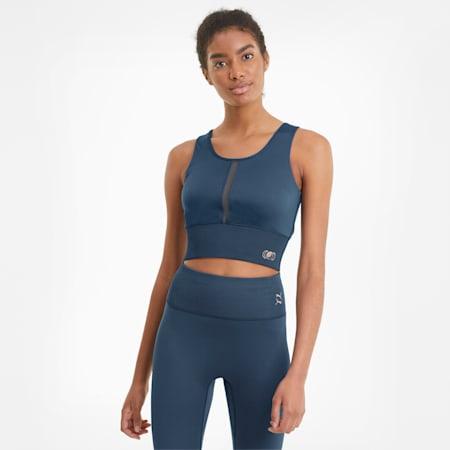 Exhale kurzes Damen Trainingsshirt, Ensign Blue, small