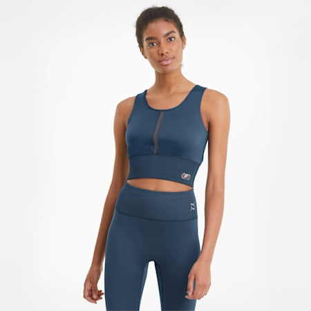 Exhale Women's Training Crop Top, Ensign Blue, small-GBR
