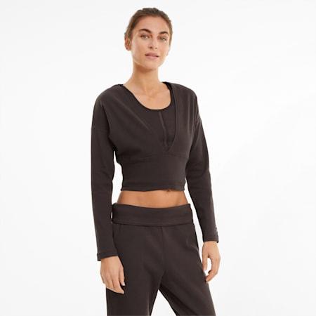 Top da allenamento a maniche lunghe in maglia a costine con scollo a V Exhale donna, After Dark, small