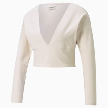 Exhale Ribbed Knit V-Neck Long Sleeve Women's Training Top, Pastel Parchment, small